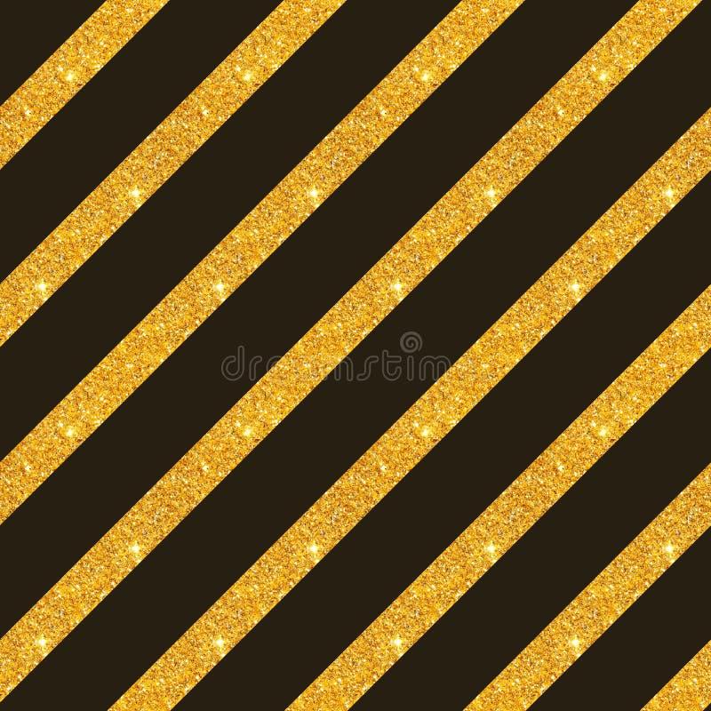 Modello senza cuciture con le bande diagonali di scintillio dorato su fondo nero royalty illustrazione gratis