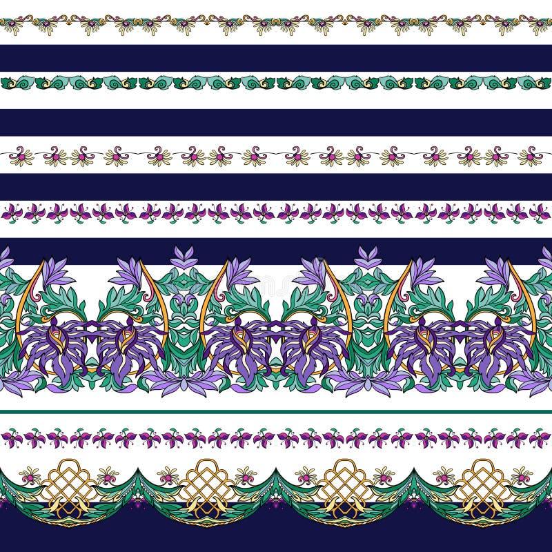 Modello senza cuciture con le bande ed il modello floreale medievale royalty illustrazione gratis