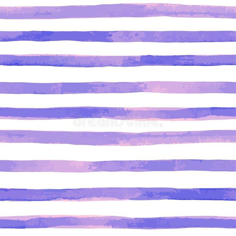 modello senza cuciture con le bande porpora dell'acquerello colpi dipinti a mano della spazzola, fondo a strisce Illustrazione di illustrazione di stock