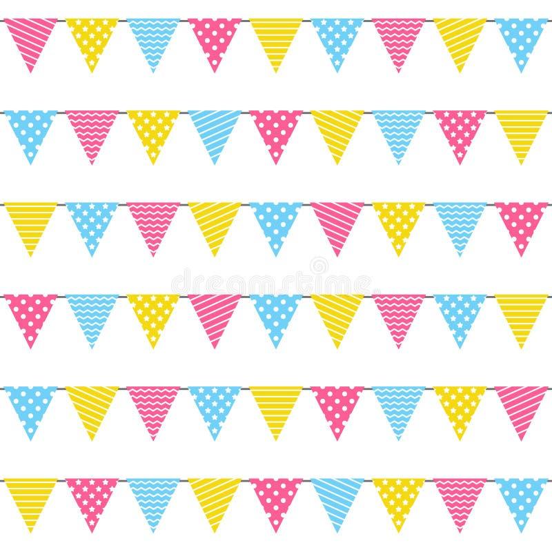 Modello senza cuciture con le bandiere della festa di compleanno illustrazione vettoriale