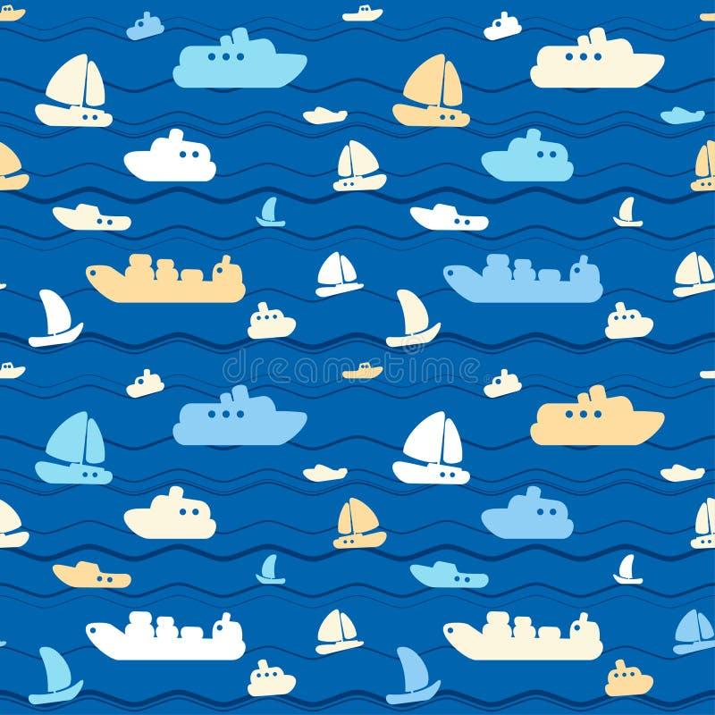 Modello senza cuciture con le barche royalty illustrazione gratis