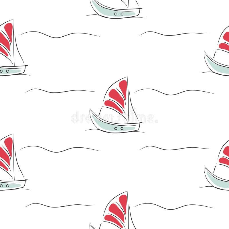 Modello senza cuciture con le barche su fondo semplice bianco illustrazione vettoriale