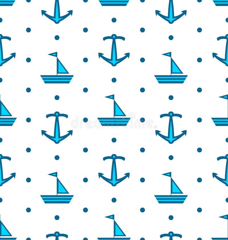 Modello senza cuciture con le barche a vela e le ancore, blu nautico illustrazione vettoriale