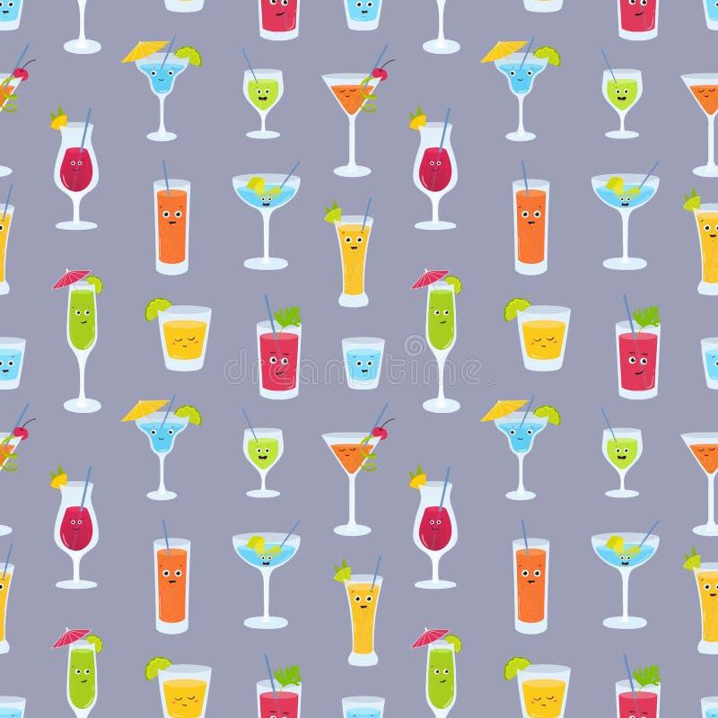 Modello senza cuciture con le bevande in vetri con i fronti divertenti svegli Contesto con i succhi di frutta, cocktail alcolici illustrazione di stock
