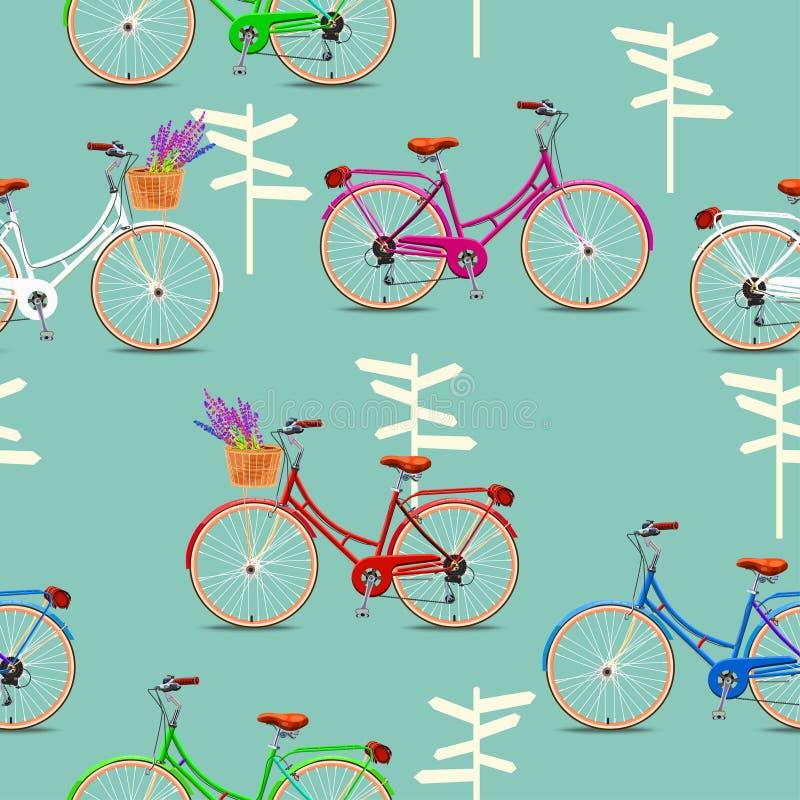 Modello senza cuciture con le biciclette d'annata su fondo verde Illustrazione di vettore illustrazione di stock