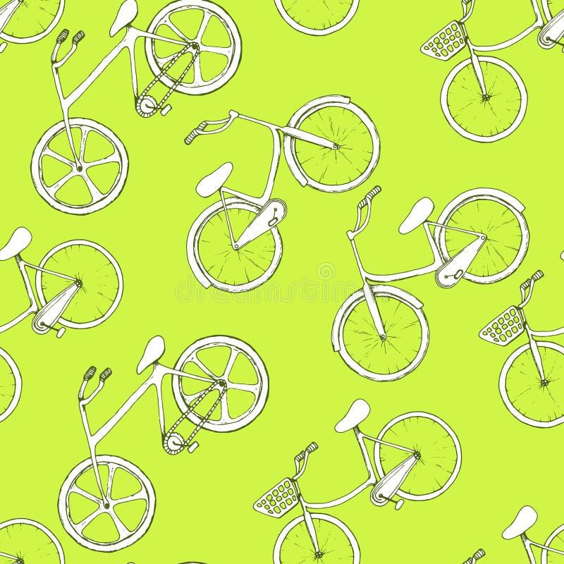 Modello senza cuciture con le biciclette disegnate a mano del profilo Ruote bianche diagonalmente disposte su fondo verde Progett illustrazione vettoriale