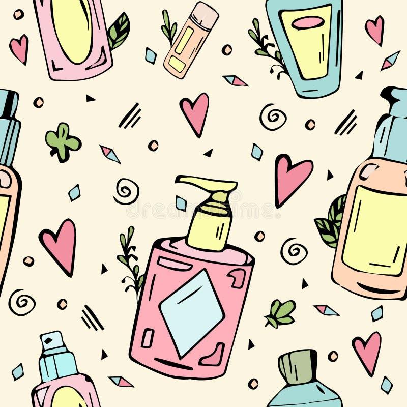 Modello senza cuciture con le bottiglie dei cosmetici illustrazione vettoriale