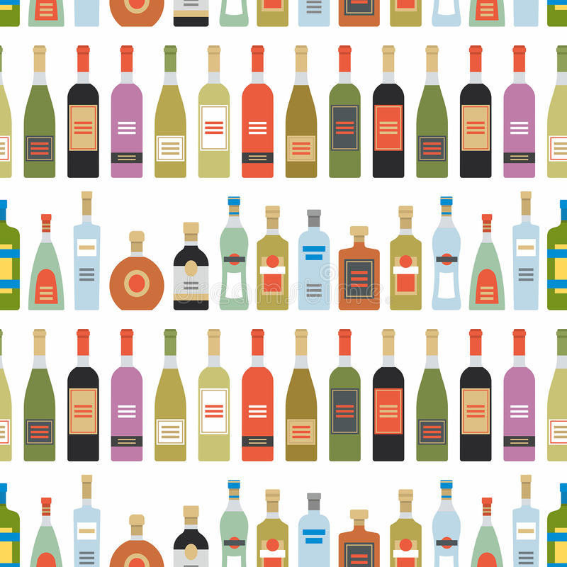 Modello senza cuciture con le bottiglie dell'alcool illustrazione di stock