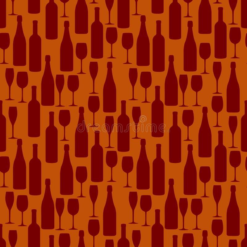 Modello senza cuciture con le bottiglie e bicchieri di vino e champagne illustrazione di stock