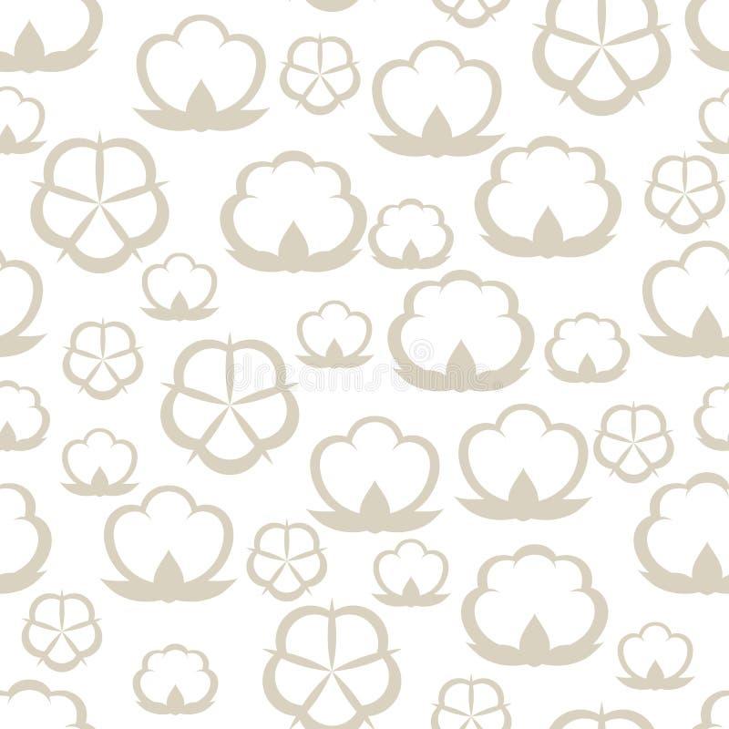 Modello senza cuciture con le capsule del cotone Illustrazione stilizzata illustrazione di stock