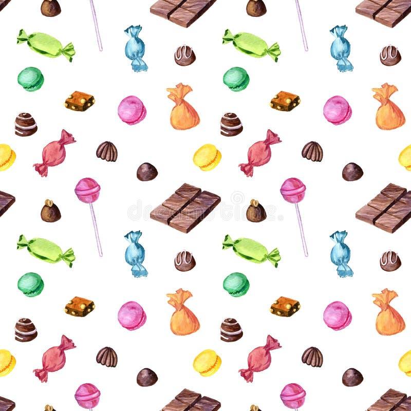 Modello senza cuciture con le caramelle di cioccolato dell'acquerello royalty illustrazione gratis