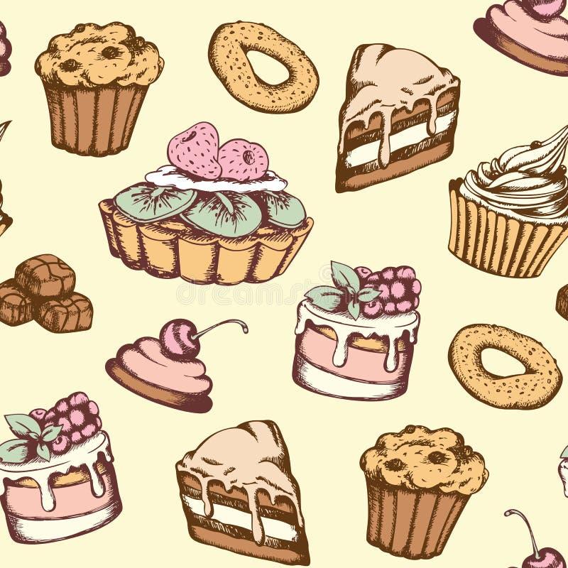 Modello senza cuciture con le caramelle ed i dolci royalty illustrazione gratis