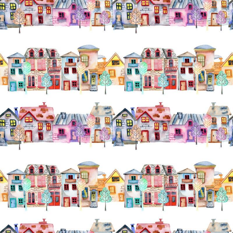 Modello senza cuciture con le case inglesi dell'acquerello sveglio del fumetto in una fila ed in alberi royalty illustrazione gratis