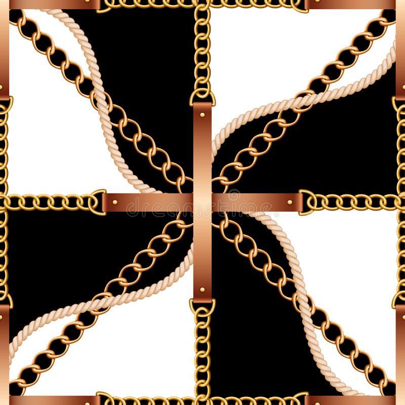 Modello senza cuciture con le cinghie, le catene e la corda su fondo in bianco e nero illustrazione vettoriale