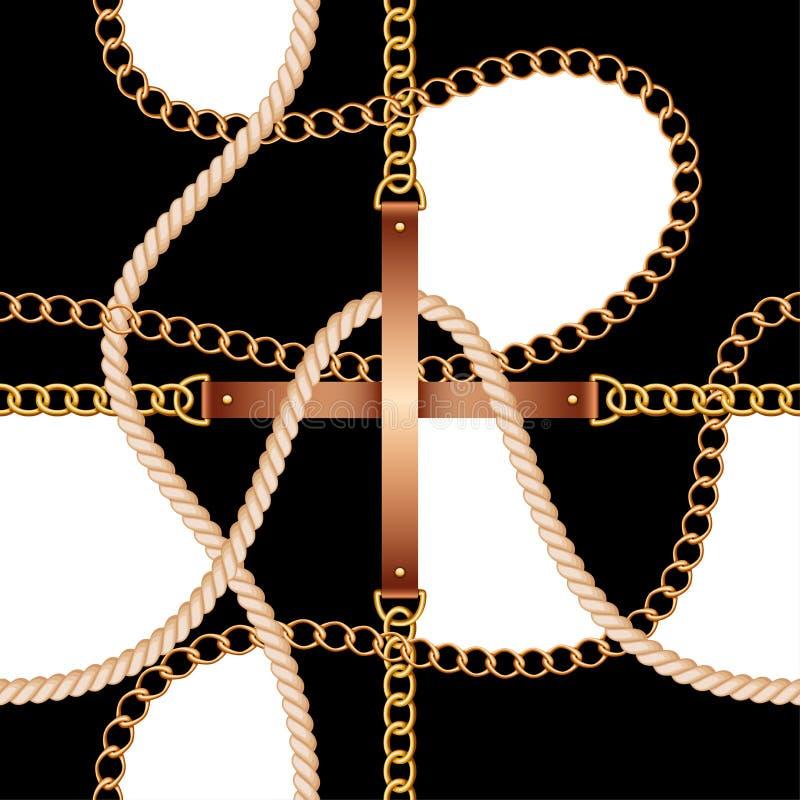Modello senza cuciture con le cinghie, le catene e la corda su fondo in bianco e nero illustrazione di stock