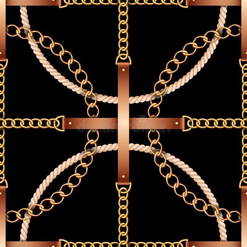 Modello senza cuciture con le cinghie, le catene e la corda su fondo nero royalty illustrazione gratis