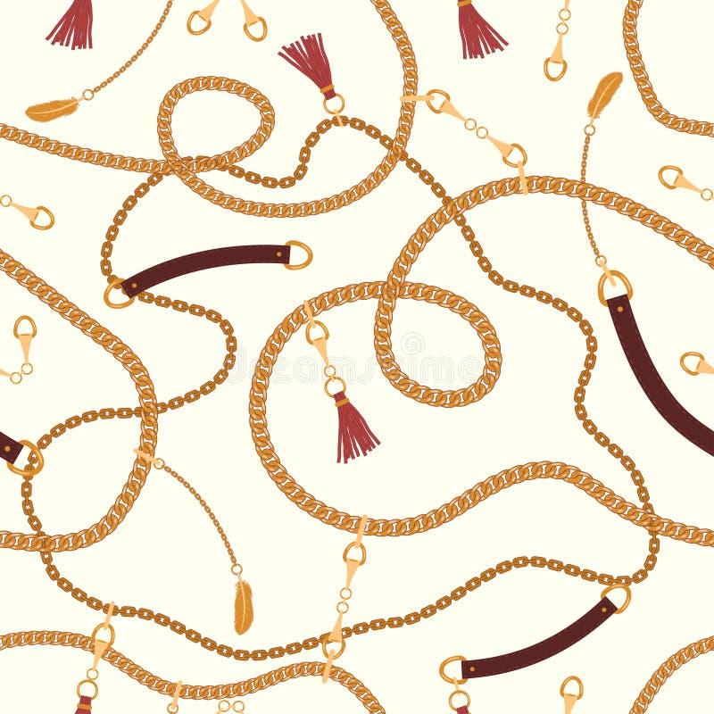 Modello senza cuciture con le cinghie delle catene e le cinghie, pendente Fondo per progettazione del tessuto Vettore royalty illustrazione gratis