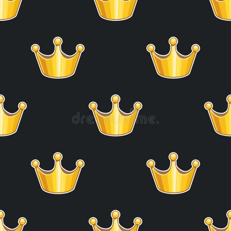 Modello senza cuciture con le corone dorate illustrazione di stock