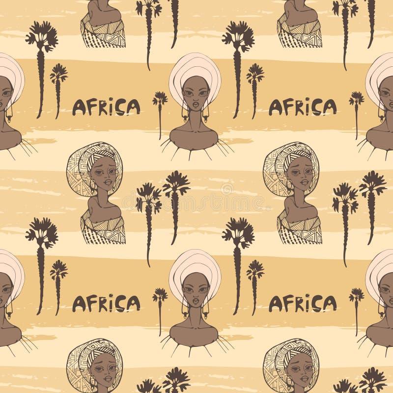 Modello senza cuciture con le donne africane in sciarpa, in palme e nel ` dell'Africa del ` dell'iscrizione illustrazione vettoriale