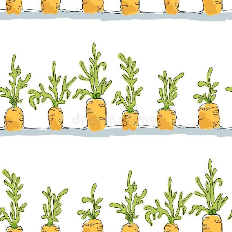 Modello senza cuciture con le erbe delle carote fatte per la stampa, wrappi illustrazione vettoriale
