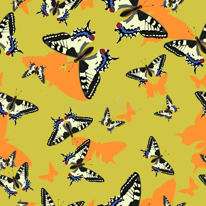 Modello senza cuciture con le farfalle del machaon Immagine di vettore Per progettazione di tessuto, carta, molti altre illustrazione di stock