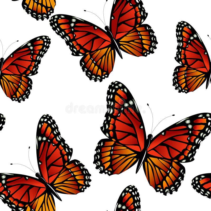 Modello senza cuciture con le farfalle di monarca luminose illustrazione vettoriale