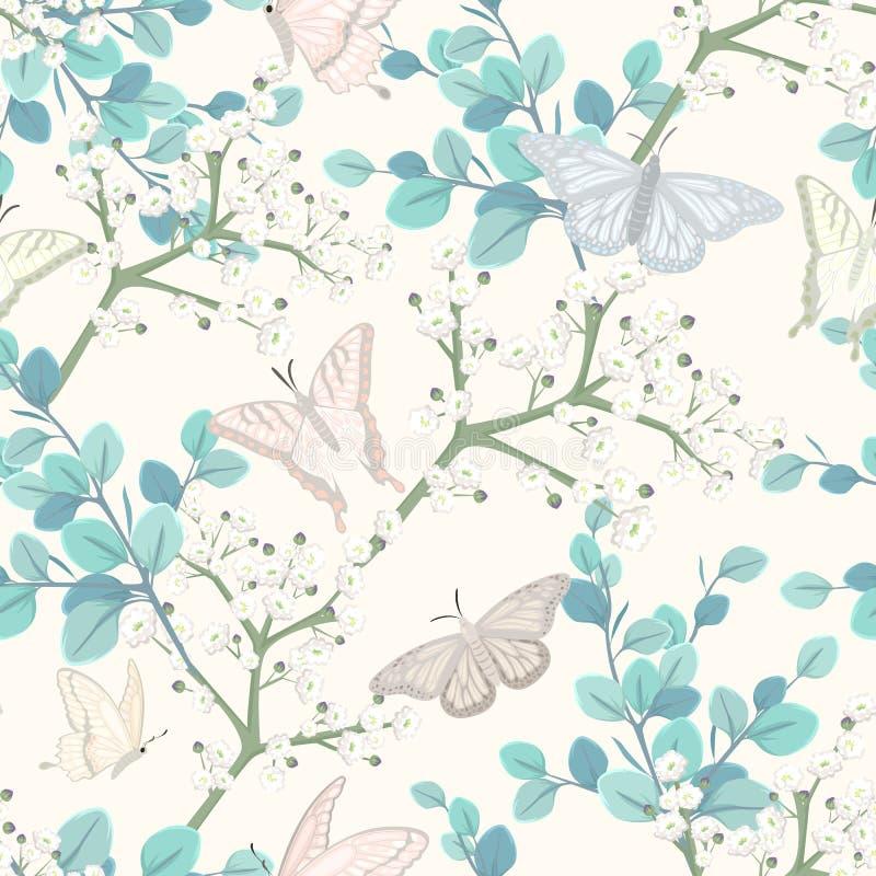 Modello senza cuciture con le farfalle ed i fiori bianchi royalty illustrazione gratis