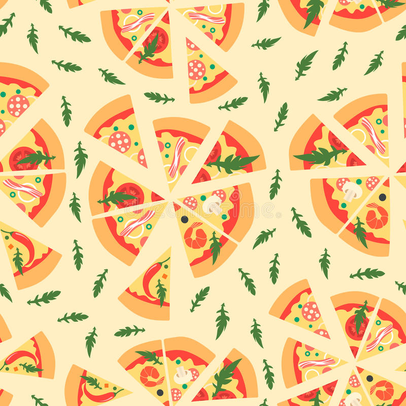 Modello senza cuciture con le fette assortite della pizza Illustrazione di vettore Ripetizione della priorità bassa illustrazione di stock