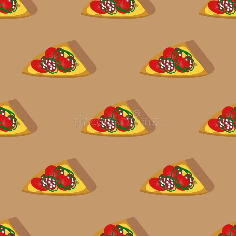Modello senza cuciture con le fette della pizza illustrazione vettoriale