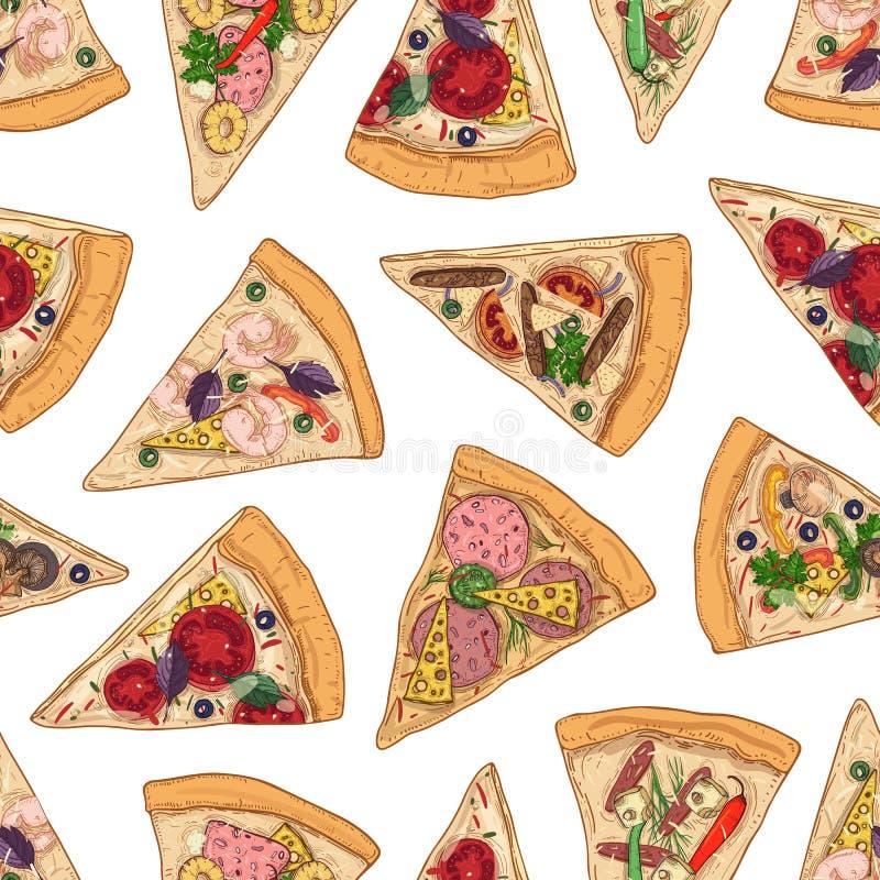 Modello senza cuciture con le fette della pizza su fondo bianco Contesto con il pasto italiano delizioso, alimento appetitoso col illustrazione vettoriale