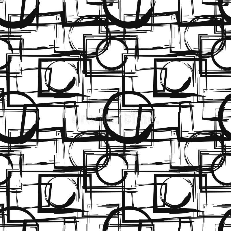 Modello senza cuciture con le figure geometriche nere astratte nello stile di lerciume Elementi di disegno di vettore illustrazione vettoriale
