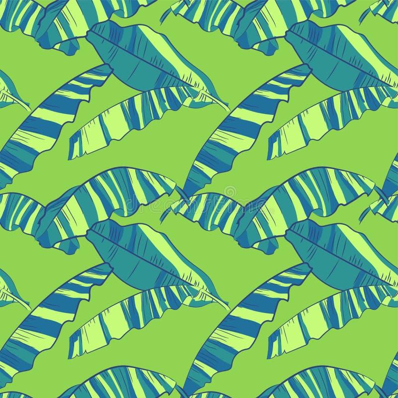Modello senza cuciture con le foglie astratte della banana Fondo luminoso tropicale illustrazione vettoriale