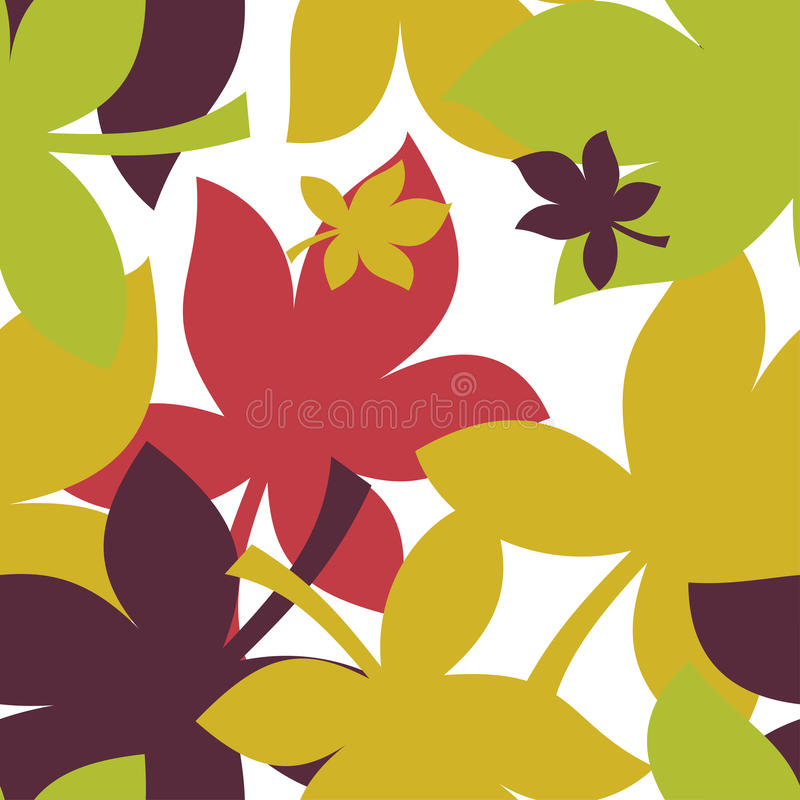 Modello senza cuciture con le foglie di acero di autunno in arancio, in rosso, in verde, Brown ed il giallo Perfezioni per la car illustrazione vettoriale