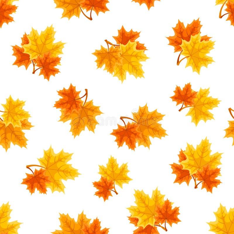 Modello senza cuciture con le foglie di acero di autunno Illustrazione di vettore illustrazione vettoriale