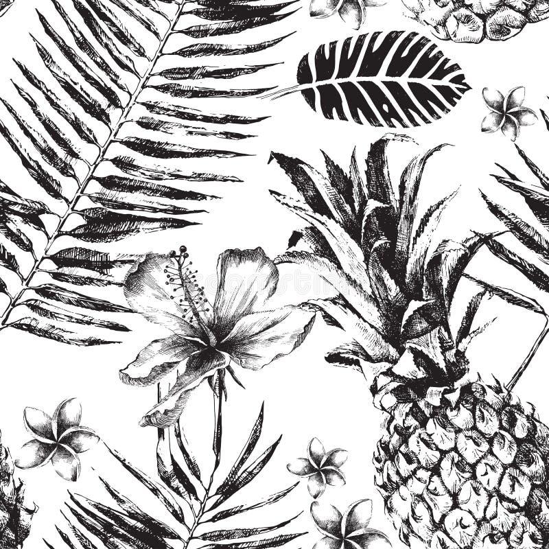 Modello senza cuciture con le foglie di palma, i fiori e gli ananas tropicali royalty illustrazione gratis