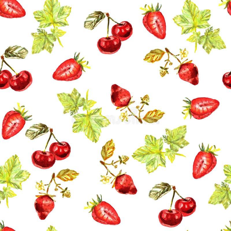 Modello senza cuciture con le foglie dipinte a mano acquerelle, fragole, ciliege illustrazione vettoriale
