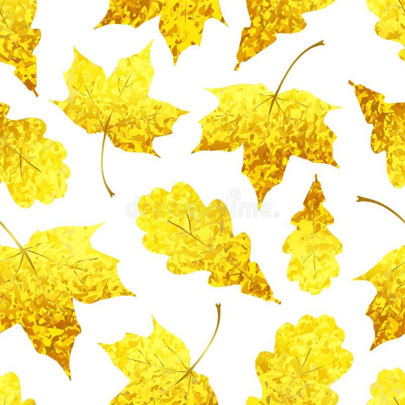 Modello senza cuciture con le foglie dorate dell'acero e della quercia scintillare illustrazione vettoriale