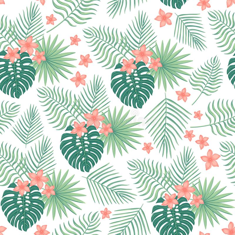 Modello senza cuciture con le foglie ed i fiori tropicali illustrazione di stock