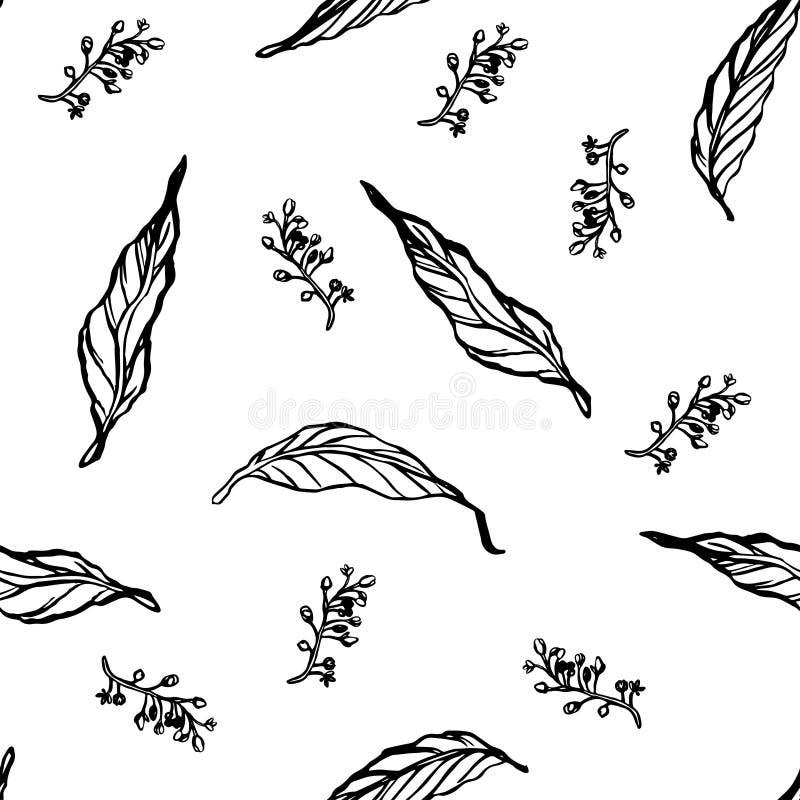 Modello senza cuciture con le foglie ed i rami Reticolo 08 royalty illustrazione gratis