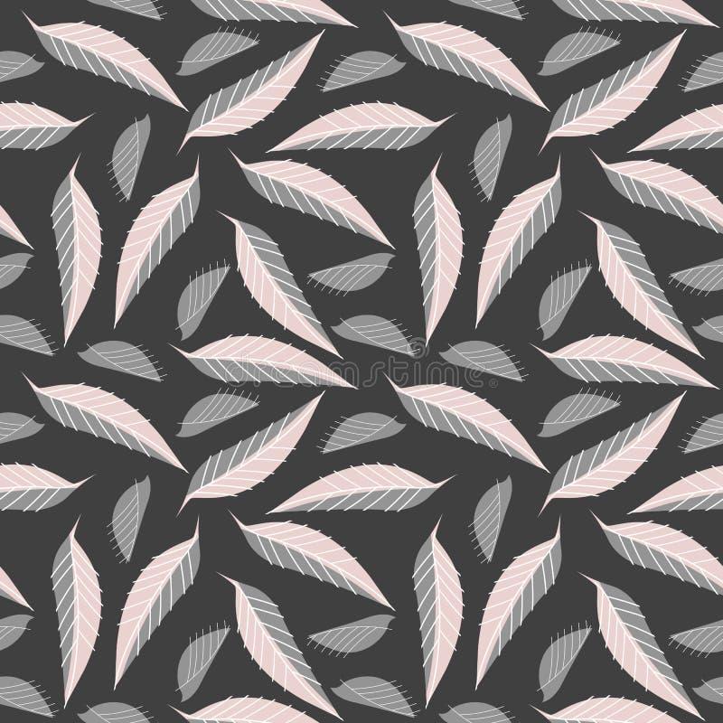Modello senza cuciture con le foglie eleganti illustrazione di stock