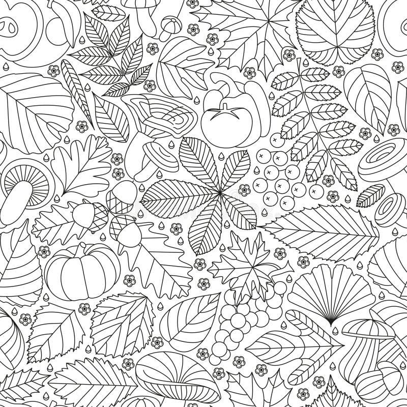 Modello senza cuciture con le foglie, i funghi e le verdure dell'albero Vari elementi per progettazione Illustrazione di vettore  illustrazione di stock