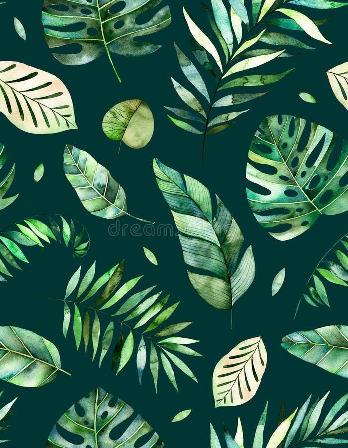 Modello senza cuciture con le foglie tropicali dell'acquerello dipinto a mano di alta qualità illustrazione vettoriale
