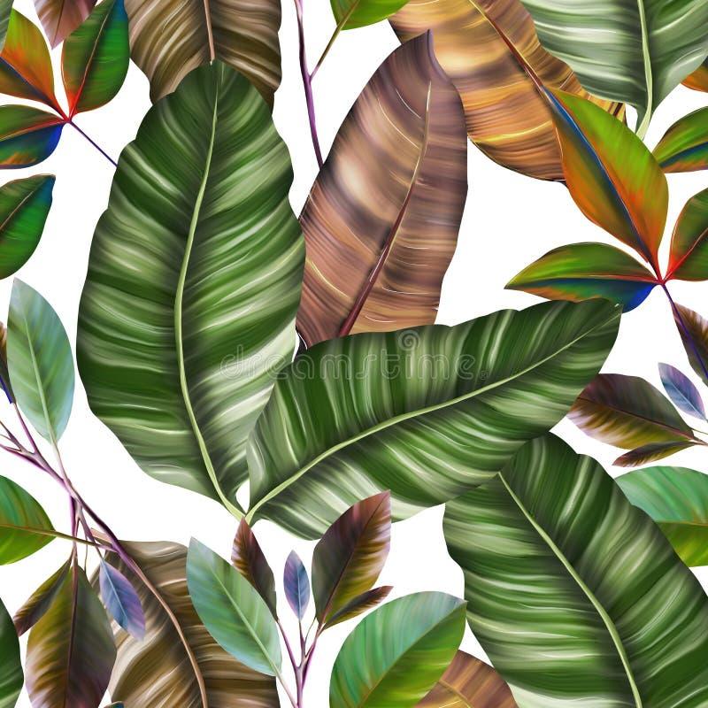 Modello senza cuciture con le foglie tropicali, progettazione botanica dell'acquerello dello Swimwear illustrazione di stock