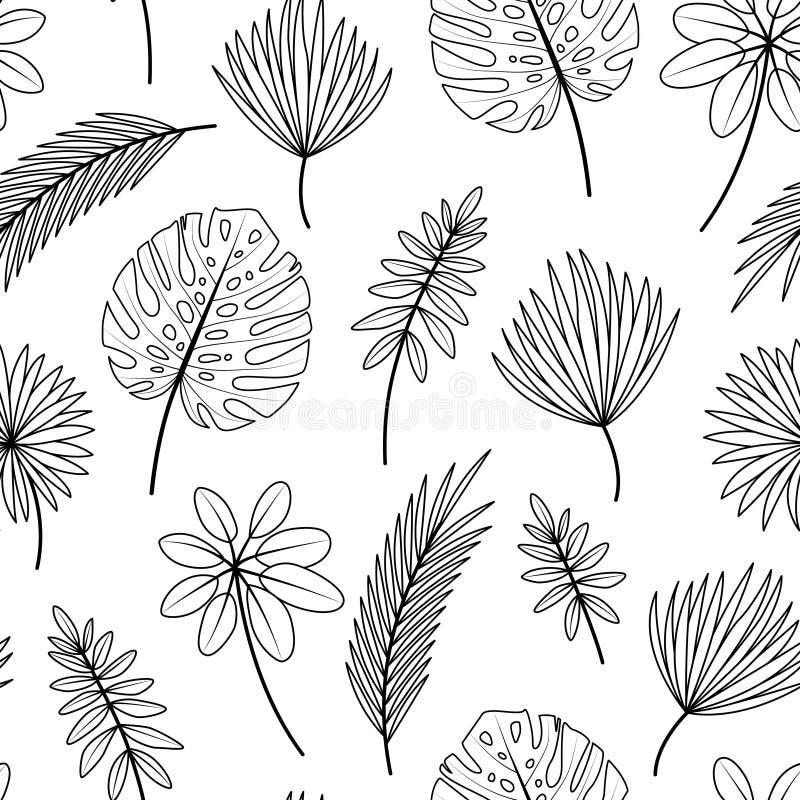 Modello senza cuciture con le foglie tropicali su fondo bianco royalty illustrazione gratis