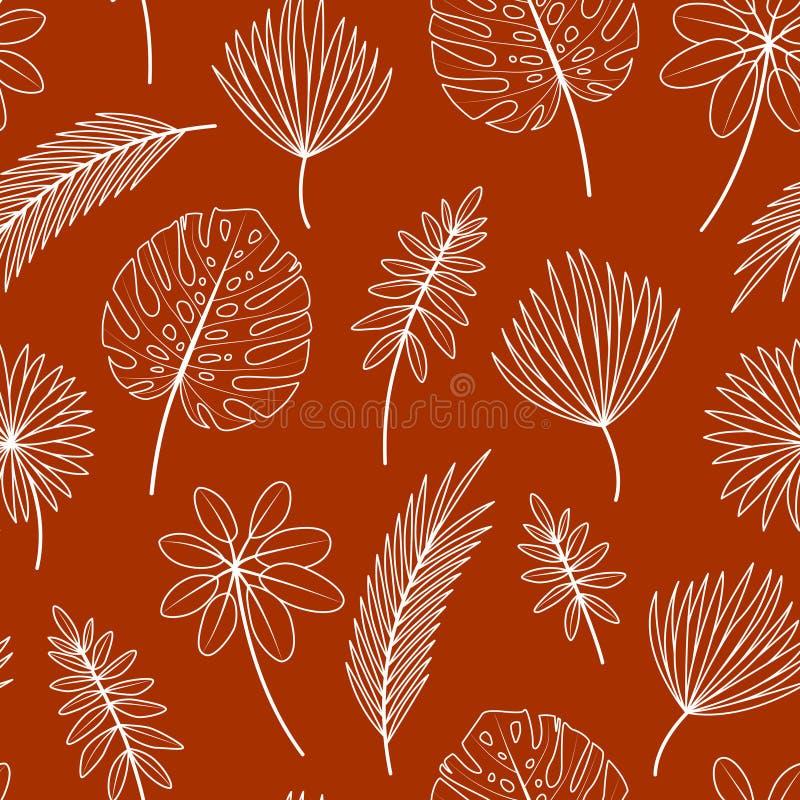 Modello senza cuciture con le foglie tropicali su fondo rosso illustrazione vettoriale