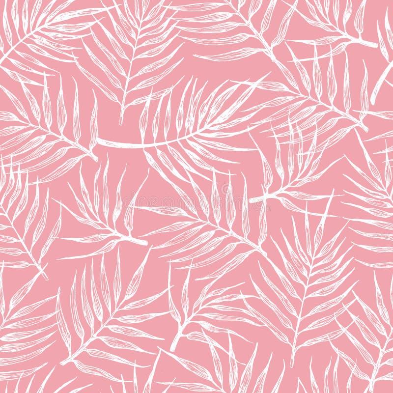 Modello senza cuciture con le foglie tropicali su un fondo rosa illustrazione vettoriale