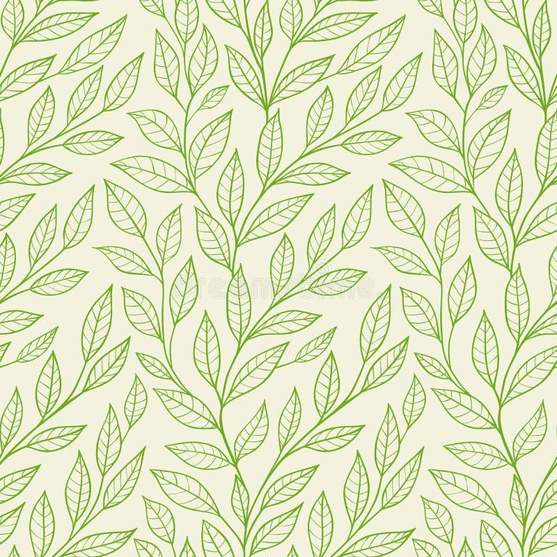 Modello senza cuciture con le foglie verdi illustrazione di stock