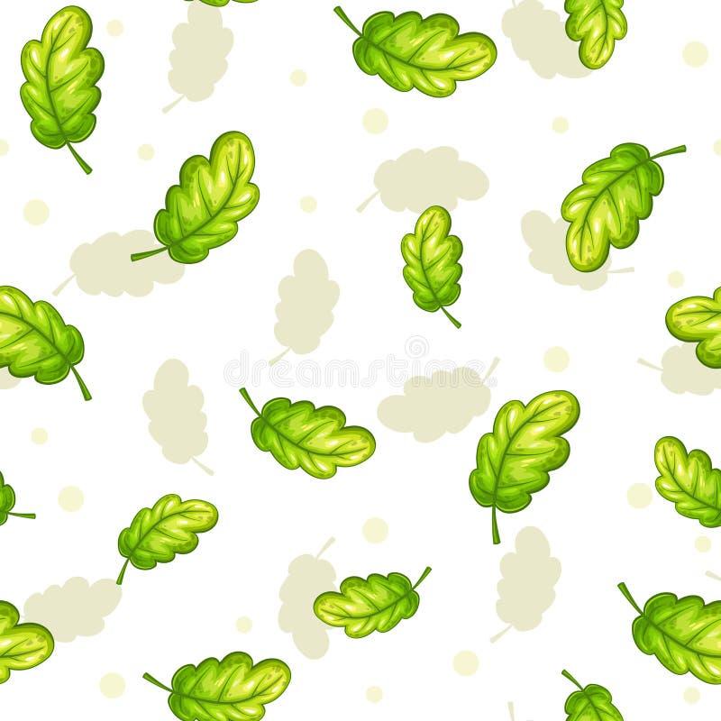Modello senza cuciture con le foglie verdi di caduta della quercia royalty illustrazione gratis
