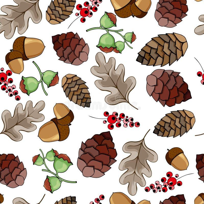 Modello senza cuciture con le ghiande, le pigne, i dadi, le bacche e le foglie di autunno Illustrazione di vettore illustrazione di stock
