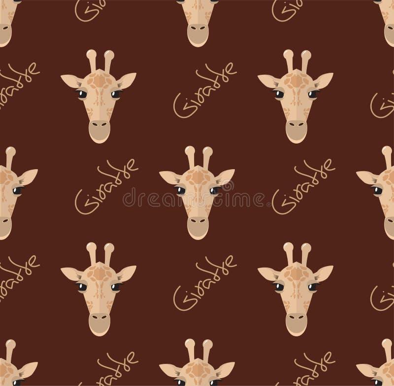 Modello senza cuciture con le giraffe su un fondo marrone illustrazione di stock